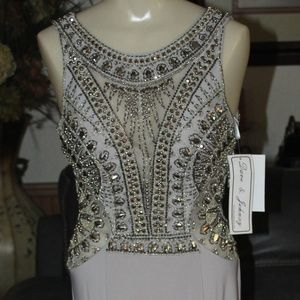 DAVE & JOHNNY Enhanced Beaded Sides Illusion Gown